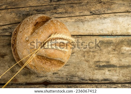 Loaf of whole wheat bread with ears on wood background - stock photo