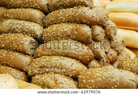 loafs from rye flour on market stand - stock photo