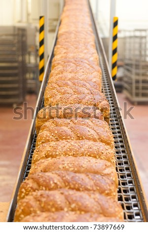 Loafs of bread being made in a factory