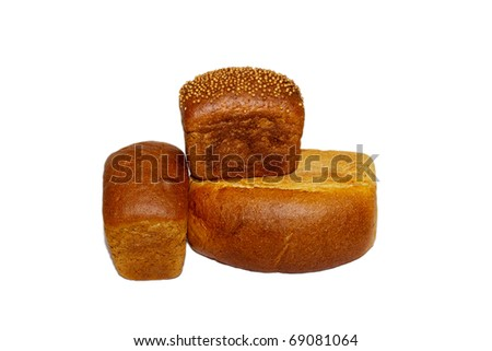 loafs of whole wheat and rye bread and isolated on white background
