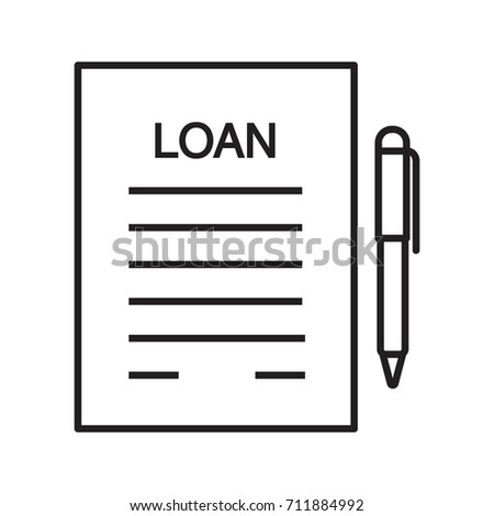 Loan Agreement Contract Linear Icon Mortgage Stock Illustration