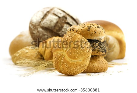 loaves of bread isolated over white background - stock photo