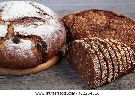 Loaves of bread with cereals and powders