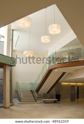 lobby in a modern building - stock photo