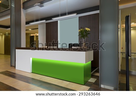 Lobby with a reception desk - stock photo