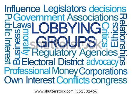 Lobbying Groups Word Cloud on White Background - stock photo