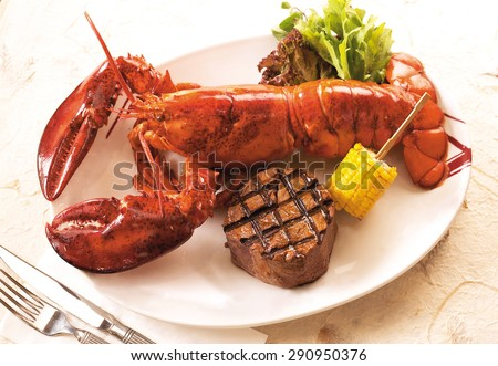 Lobster and steak - stock photo