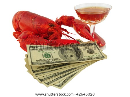 Lobster, cognac & money - stock photo