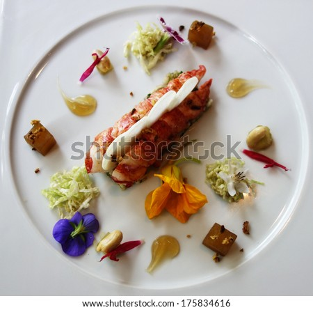 Lobster dish in gourmet French restaurant - stock photo