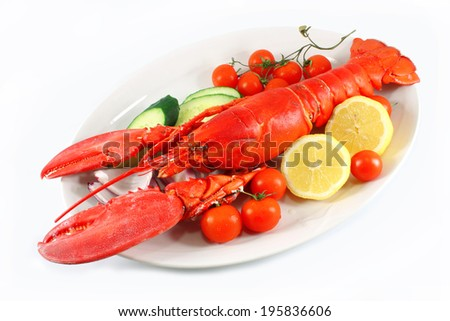 Lobster on a plate, isolated - stock photo