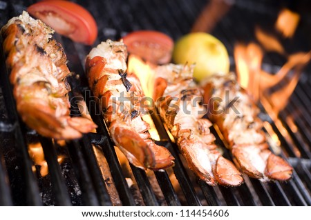 Lobster on the grill - stock photo