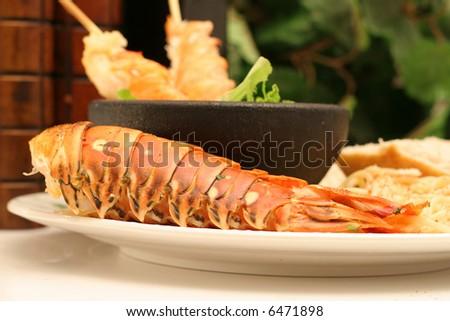 Lobster skewers - stock photo