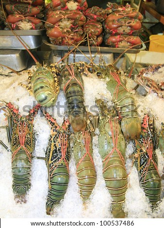 Lobsters in market