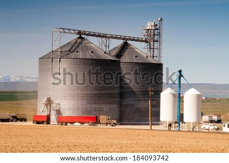 Local agriculture industry silo loads trucks for shipping - stock photo