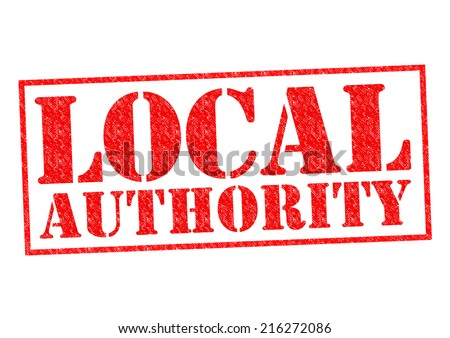 LOCAL AUTHORITY red Rubber Stamp over a white background. - stock photo