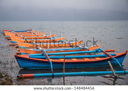 Local boat at Bali , Indonesia , calling ' Spider boat' - stock photo