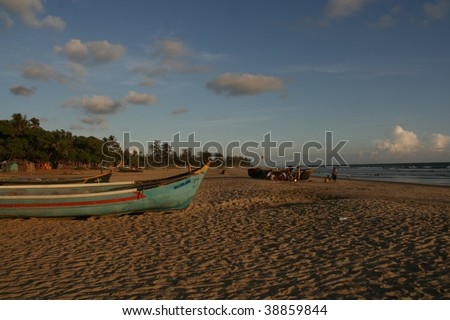 local boat in goa, goa state, india - stock photo