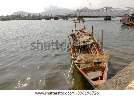 Local Boat in Kampot River, Cambodia Mar 2016