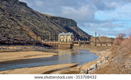 Local diversion Dam used for irrigation - stock photo