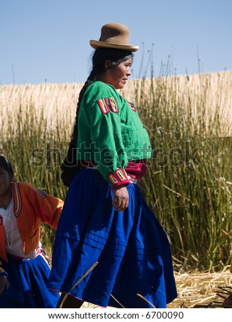 Local girl on a floating Uros island