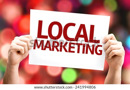 Local Marketing card with colorful background with defocused lights - stock photo