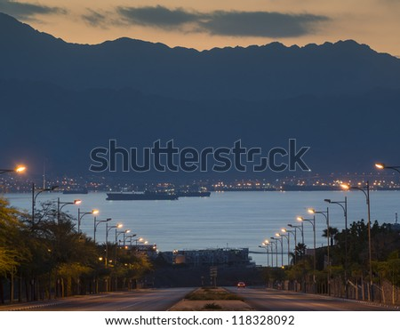 Local street running to the Red Sea, Eilat, Israel - stock photo