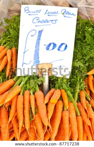 Locally grown carrots at an english market - stock photo