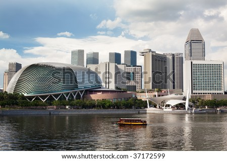 Located at Waterfront, Marina Bay, mouth of Singapore River. The Esplanade is a world renowned  performing arts centre.  Its twin domes are nicknamed as the Durian - stock photo