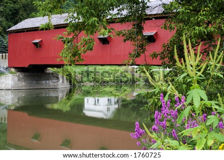 Located in Buskirk NY, USA (Eastern Upstate NY), Buskirks Bridge was built in 1857. - stock photo