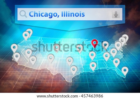 Location Chicago City On The Us Map Text Chicago Illinois In The