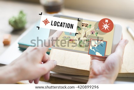 Location Navigation Map Direction Route Concept - stock photo