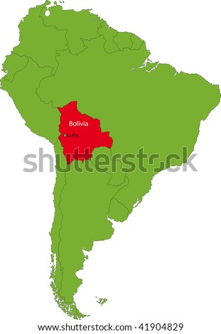 Location of Bolivia on the South America continent