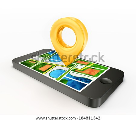 location phone isolated on a white background