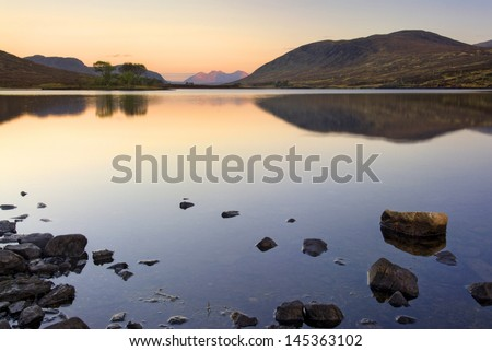 Loch Droma, Garve, Highlands, Scotland. Sunrise. On the A835 road from Inverness to Ullapool. - stock photo