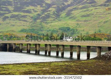 Loch Duich, Scottish Highlands in summer day - stock photo