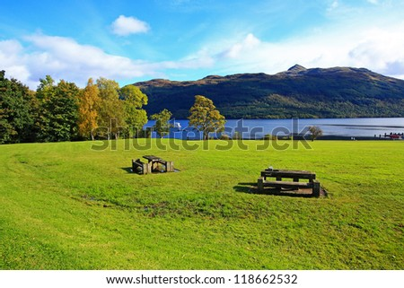 Loch Lomond in October, Scotland, UK - stock photo