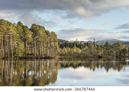 Loch Mallachie in the Cairngorms. - stock photo