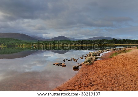 loch morlich in the highlands of scotland - stock photo