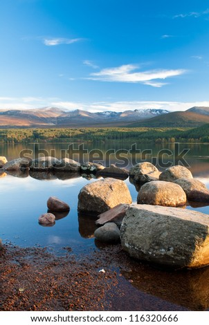 Loch Morlich, Scotland, under a clear blue sky - stock photo