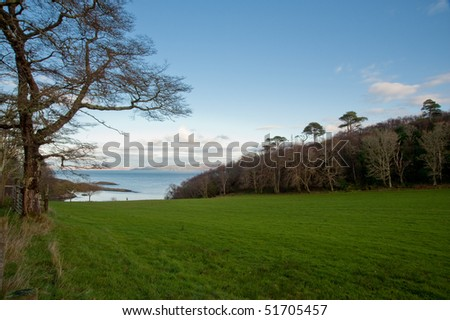 Loch na Mile and field, Jura - stock photo