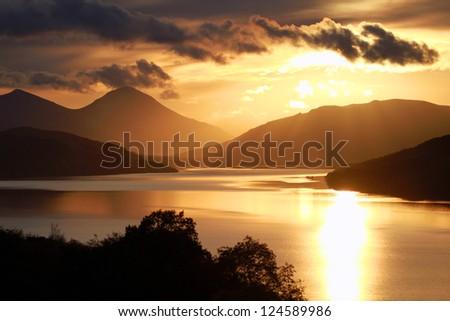 Loch Tay at Sunset. Near Aberfeldy, Perthshire, Scotland. - stock photo