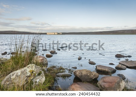 Lochindorb Castle in Strathspey in the highlands of Scotland. - stock photo