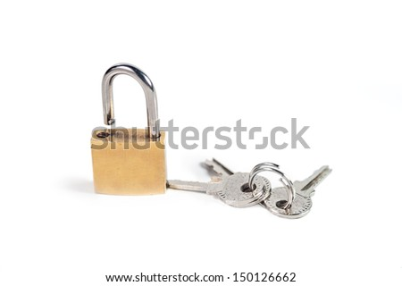 Lock and keys isolated on white background