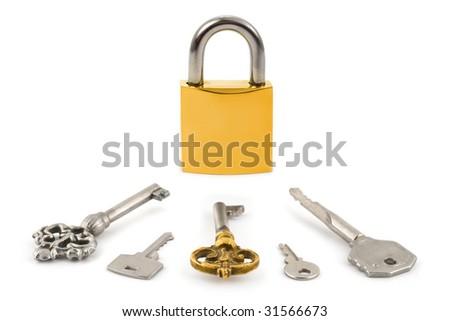 Lock and keys isolated on white background - stock photo