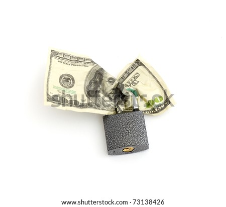 lock and money isolated on a white background - stock photo