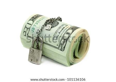 Lock and money isolated on white background
