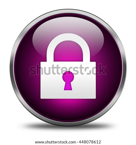 lock button isolated on white background. 3d render
