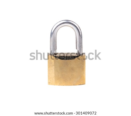 Lock, completely isolated on white - stock photo