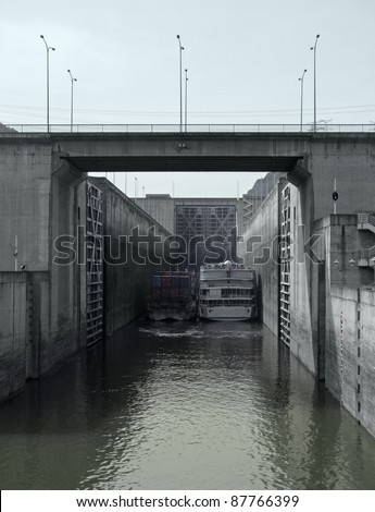 lock detail with ships at Three Gorges Dam in China - stock photo