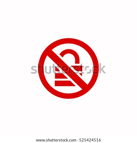 lock forbidden sign icon, on white background